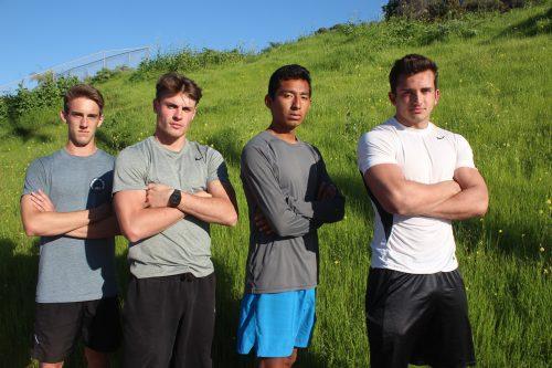 L to R: Sean Kelsay, Jack Shippy, Carlos De Jesus and Austin Whitsett will lead a veteran Triton boys track and field team. Photo: Steve Breazeale