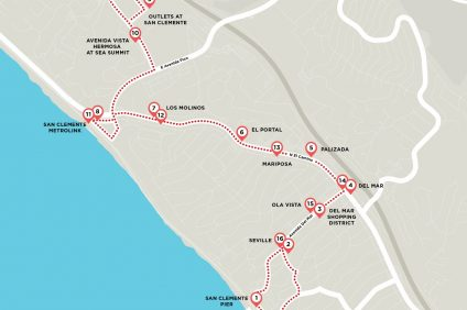 The routes for the Summer Trolley Program listed in this map were approved by City Council at the Tuesday, March 7 meeting. Photo: Courtesy of the city of San Clemente/RSM Design