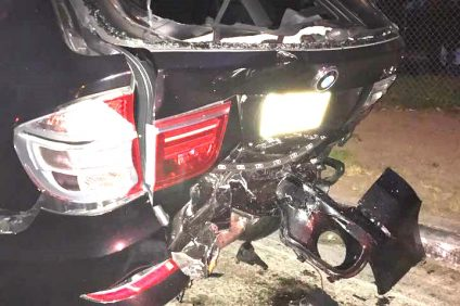 The back of a black BMW was damaged after an alleged drunk driver crashed into it and another vehicle on April 7 along S. El Camino Real near Cristianitos Road. Photo: Courtesy