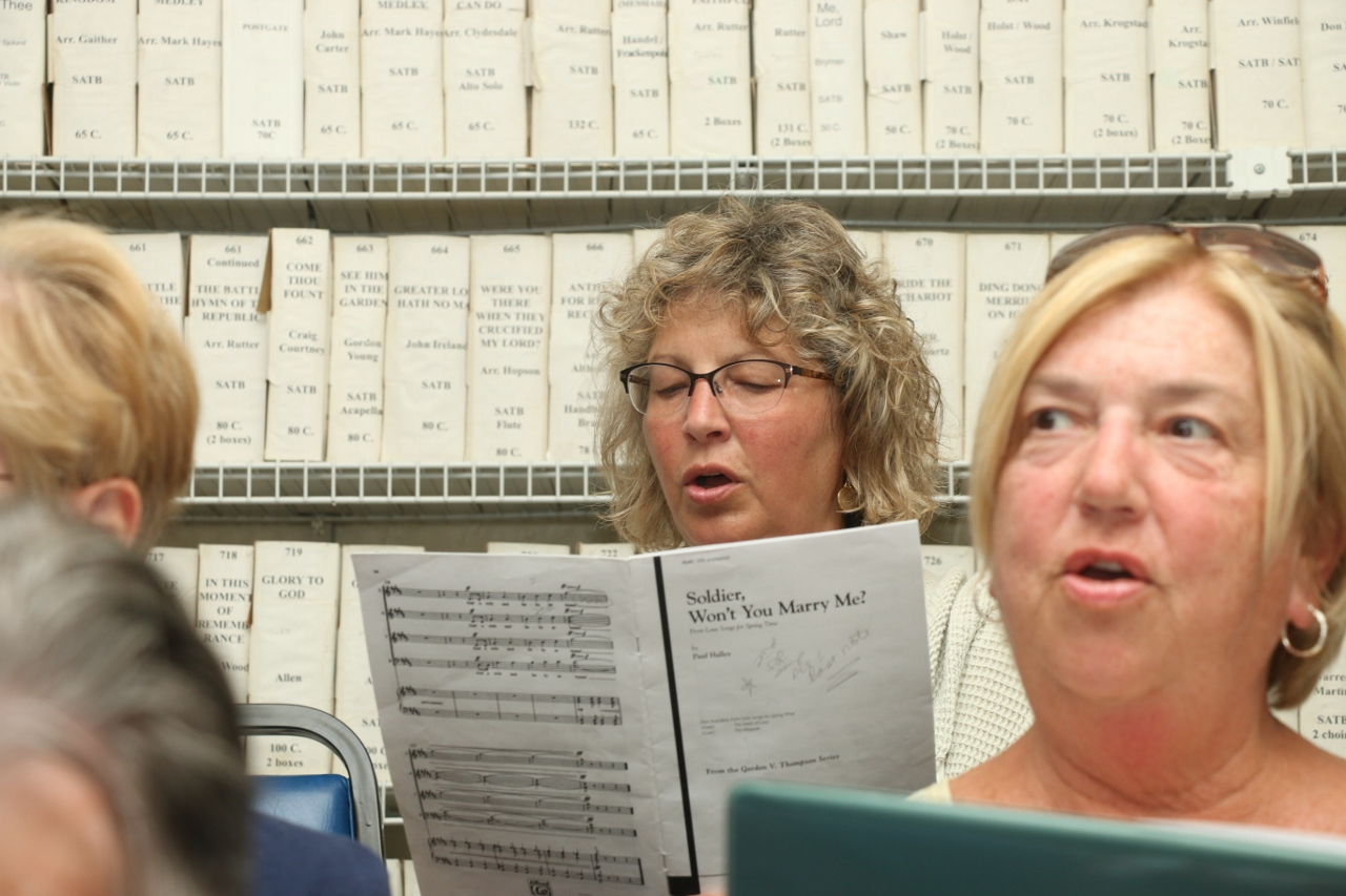 Leslie Pumper, back left, rehearses with the San Clemente Choral Society on Tuesday, April 25, at the San Clemente Presbyterian Church. This is Pumper's sixth year with the society.
