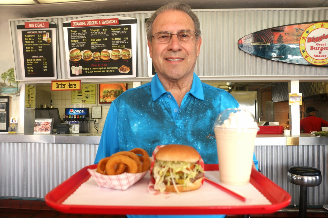 Richard Brown, owner of Biggie's Burgers in San Clemente, is looking to help military veterans start a career in the food industry after their service. The program is called Sunrise Warriors. Photo: Eric Heinz