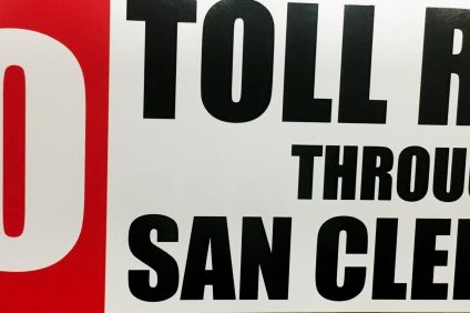 """Stickers with """"No Toll Road Through San Clemente"""" emblazoned on them were distributed to the public at a recent San Clemente City Council meeting."""
