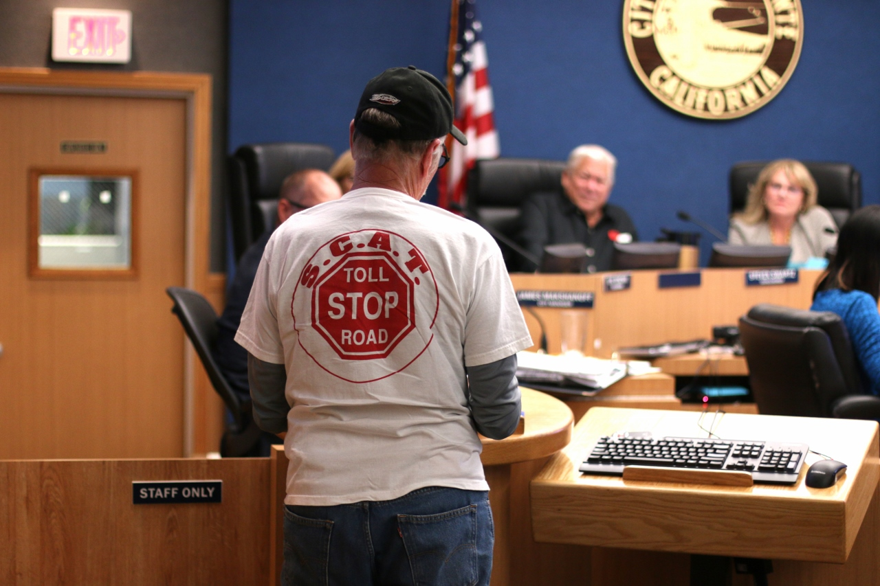 Don Kunze speaks to City Council during the Tuesday, May 16 meeting in opposition of the toll road proposals. Photo: File