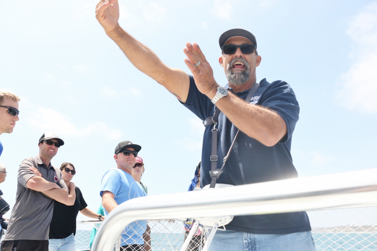 Captain Todd Mansur of Dana Wharf Sportfishing speaks to a crowd on the first great white shark excursion the company has ever hosted on Saturday, May 13, near Capistrano Beach. Photo: Eric Heinz