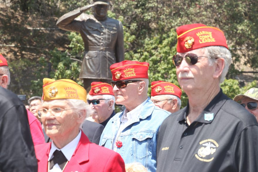 Active and former members of United States military branches participate in Memorial Day ceremonies last year. This year's events take place Monday, May 29, at the Community Center and Park Semper FI. Photo: File