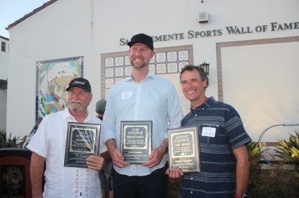 L to R: Bill Stewart, Gabe Gardner and Johnny Campbell were inducted into the Friends of San Clemente Sports Wall of Fame. Photo: Steve Brezeale