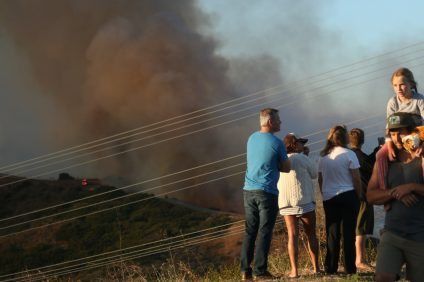 People by the hundreds came out to witness the wildland fire on Camp Pendleton from a safe distance in San Clemente on Wednesday, June 28. Photo: Eric Heinz