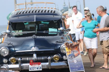 Various woodie cars of all makes and models will be on display on the San Clemente Pier during the 2017 Ocean Festival this Saturday, July 15, and Sunday, July 16. Photo: Eric Heinz