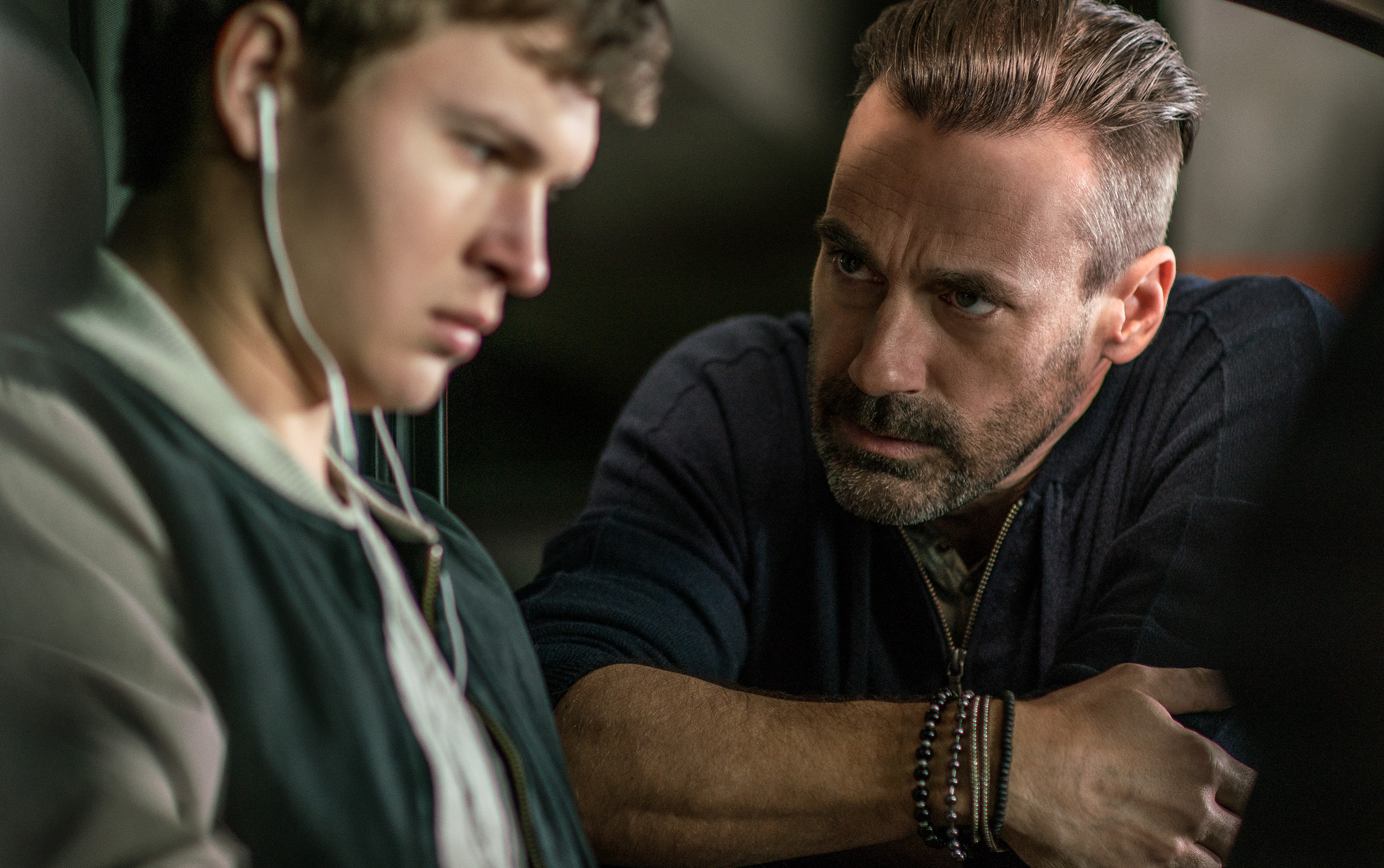 Buddy (JON HAMM) confronts Baby (ANSEL ELGORT) in TriStar Pictures' BABY DRIVER. Photo: Courtesy of TriStar Pictures, Inc. and MRC II Distribution Company.