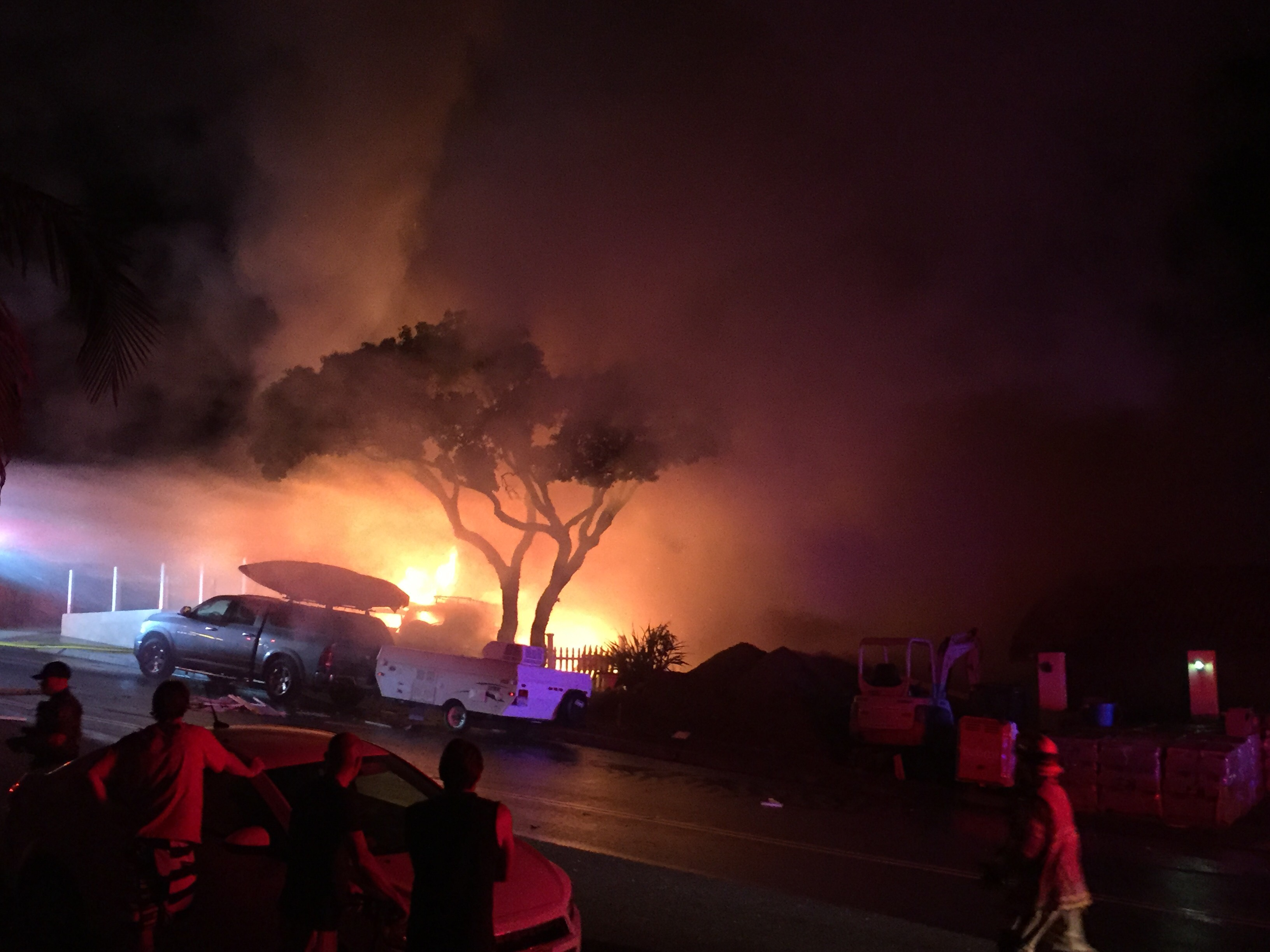 Flames could be seen from half a mile away after a ruptured gas line caused an explosion inside a garage on the 100 block of Avenida Dolores in San Clemente early Thursday morning, Aug. 24. Photo: Courtesy of Susan Goggins
