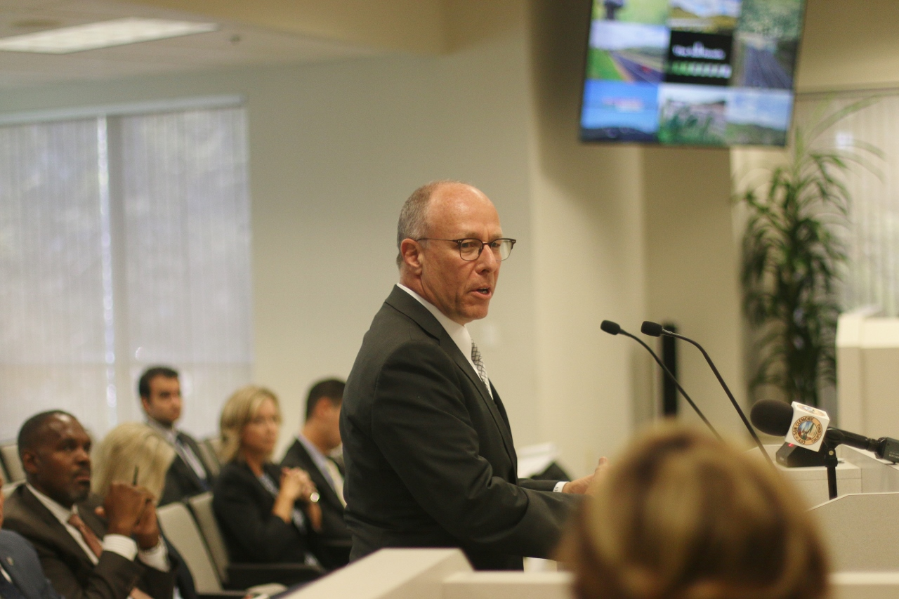 San Clemente City Attorney Scott Smith spoke as a private citizen during the public comment portion of the TCA meeting on Aug. 10, 2017. Photo: Eric Heinz