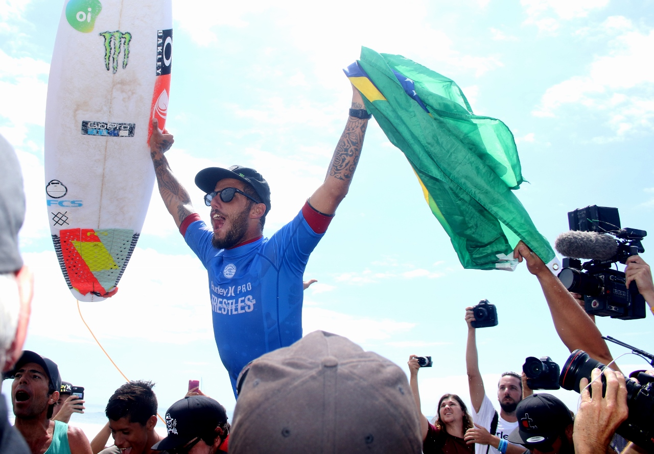 Filipe Toledo celebrates his victory at the Hurley Pro on Sept. 15 at Lower Trestles. Photo: Eric Heinz