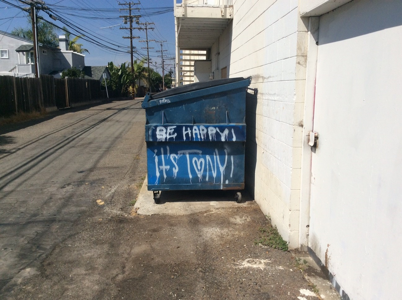 A vandalized trash bin in San Clemente. Photo: Courtesy