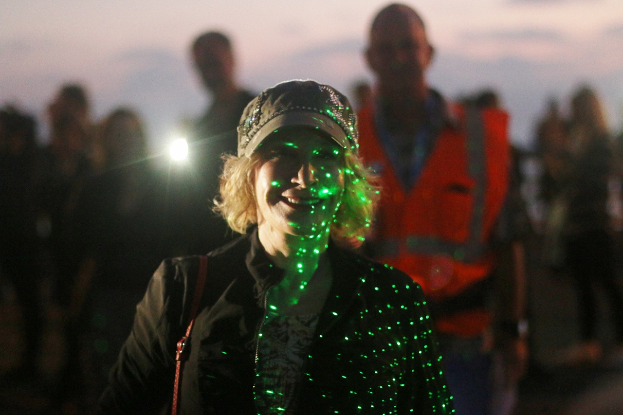 People used flashlights and cell phone light to create a twinkling constellation around the edge of the San Clemente Pier on Oct. 13 during Pier Pride's fundraising event. Photo: Eric Heinz