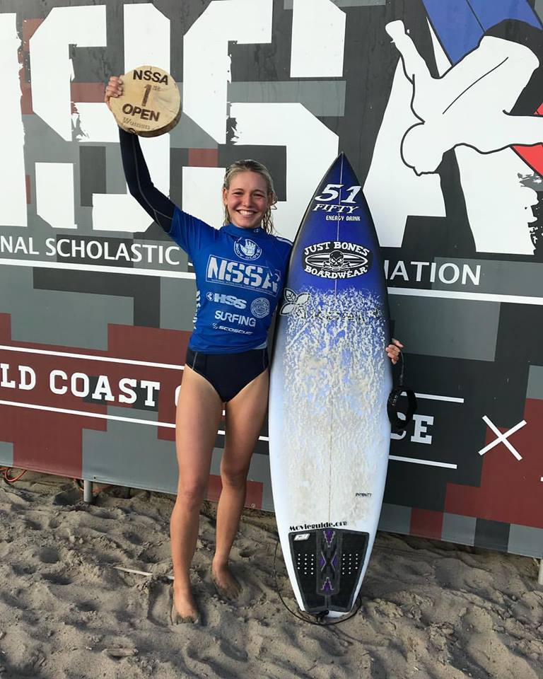 Bethany Zelasko celebrates her first win of the 2017 NSSA season. Photo: NSSA
