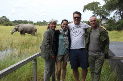 From left, Elephant Cooperation's director Patty Morton, operations manager Mechelle Haines, founder Scott Struthers stand near an African elephant with Air Shepherd partner Otto Werdmuller Von Elgg. Elephant Cooperation is based in San Clemente. Photo: Courtesy of Elephant Cooperation