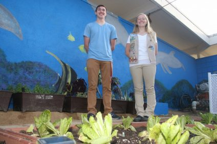 San Clemente High School sophomore Kayleigh Cassidy, right, received her Gold Award from the Girl Scouts of the USA, and Lucas Demchik received his Eagle Scout honor from the Boy Scouts of America for their work on the SCHS sensory garden. Photo: Eric Heinz