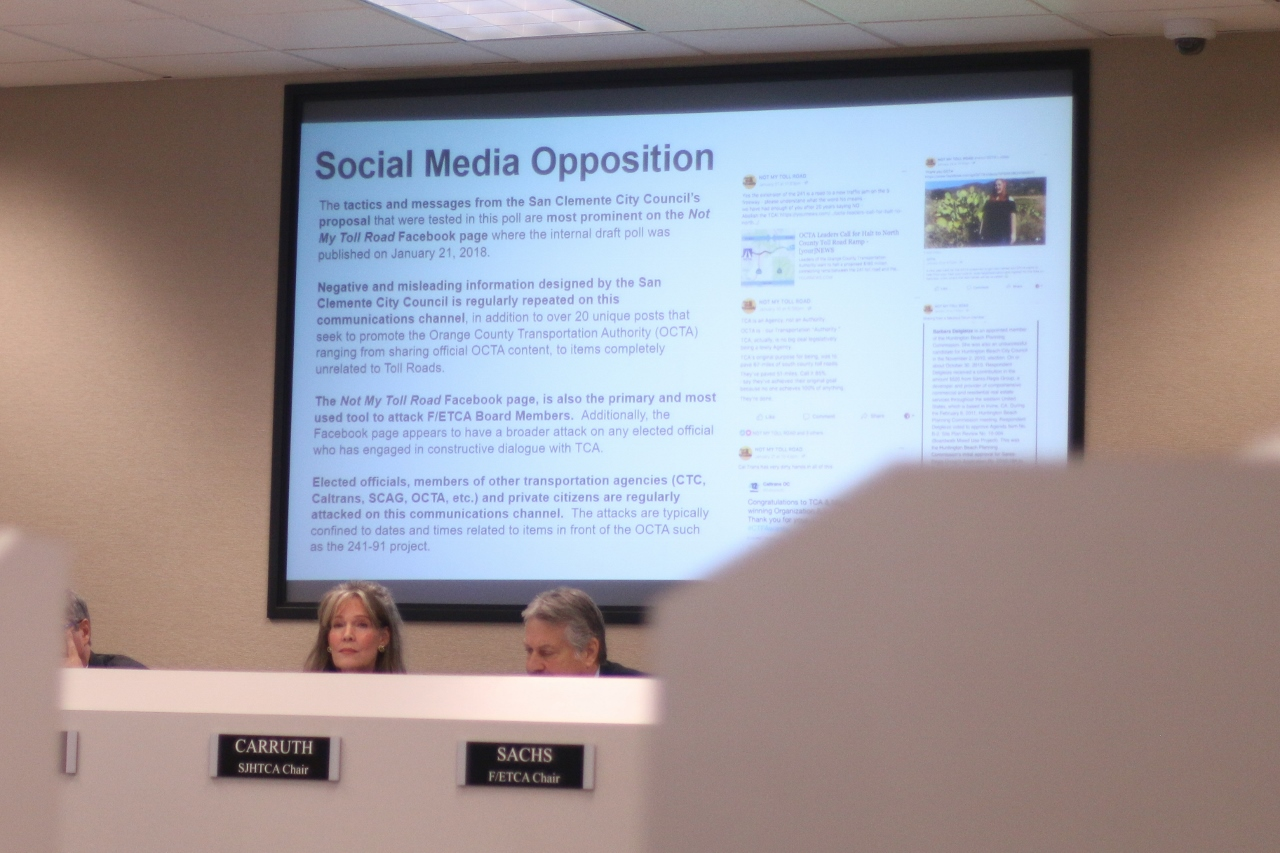 TCA staff presented a series of documents from a public records request as well as screenshots of social media pages dedicated to combating any toll roads through San Clemente at the Feb. 8 joint board meeting. Photo: Eric Heinz
