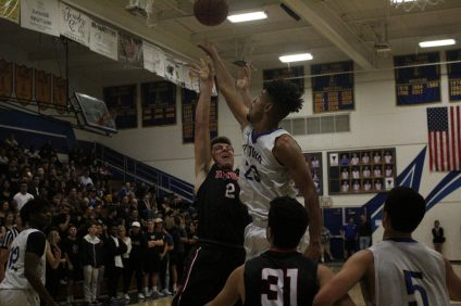 San Clemente's Jay Baggs gets a shot blocked against El Toro. San Clemente lost, 68-59, at El Toro on Thursday, Feb. 8. Photo: Zach Cavanagh