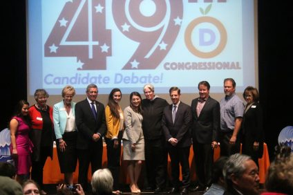 None of the five Democratic candidates for the 49th congressional district received enough support for a nomination from the party at the state convention on Feb. 24. The candidates hosted a debate (pictured) on Tuesday, Feb. 20 at San Juan Hills High School. Photo: Eric Heinz