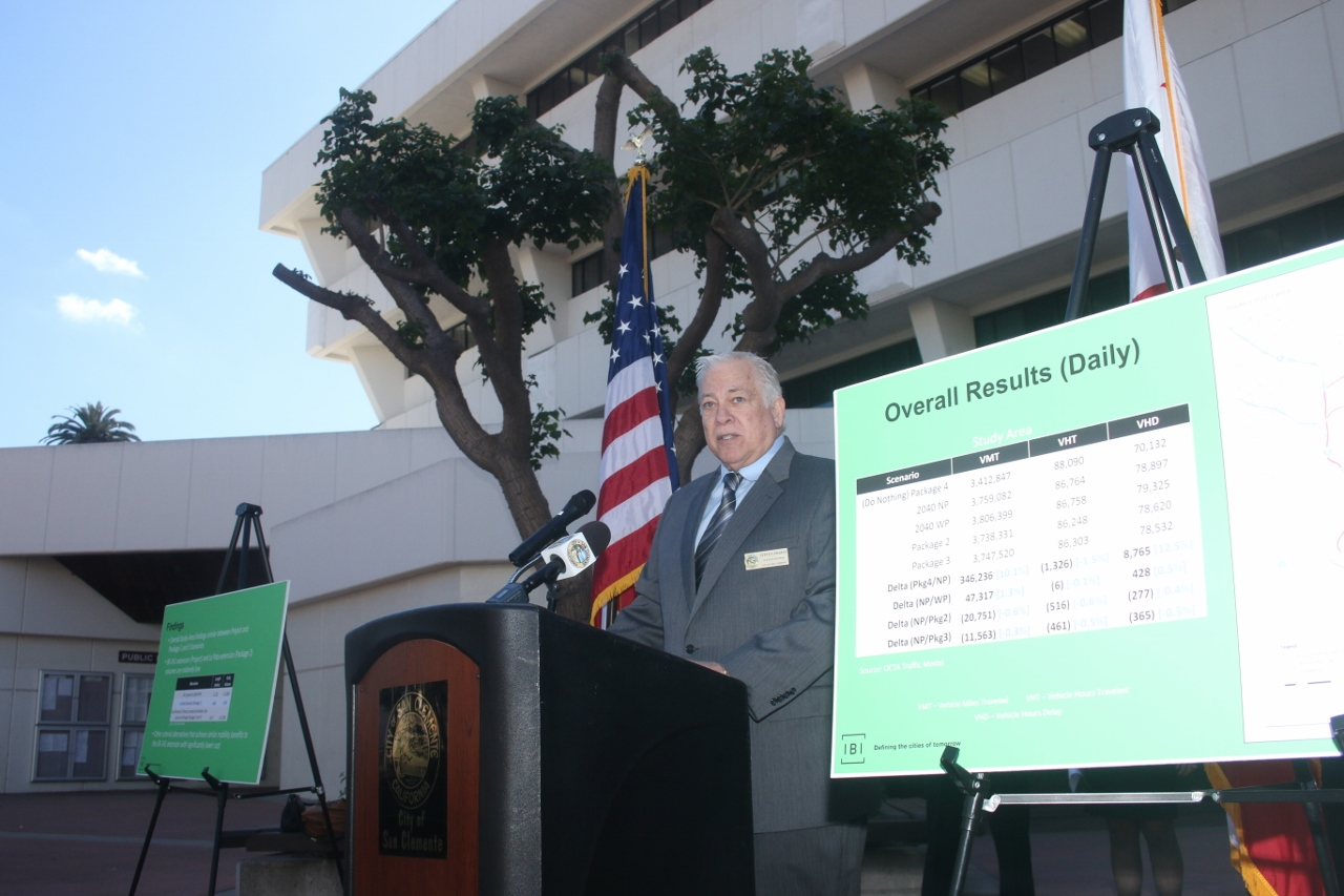 San Clemente City Council member Steve Swartz speaks during a press conference on Thursday, March 1 in Santa Ana. Swartz is the city's representative on the TCA's San Joaquin Hills Transportation Corridor Agency. Photo: Eric Heinz