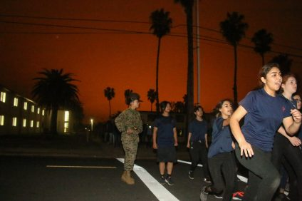 Future female Marines start their introductory training in the early morning on March 10 at Camp Pendleton in Oceanside. This was the first time all Southern California recruiting stations combined efforts to train female Marines.