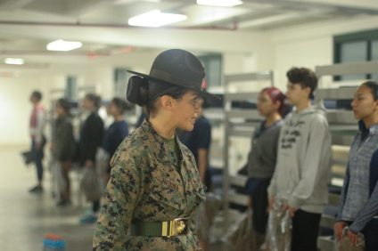 A drill instructor tests the future female Marines' knowledge of the USMC early Saturday morning, March 10 at Camp Pendleton in Oceanside.