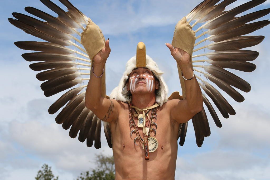 Steve Garcia performs the eagle dance during the Panhe festival on March 18 at the San Mateo Campground.