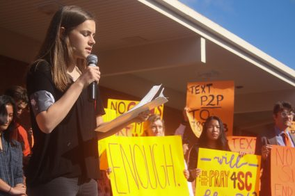 Carni Campbell, a senior at SCHS, speaks during a walkout on March 14. Photo: Eric Heinz