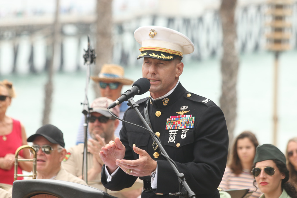 Brig. Gen. (sel) Michael Borgschulte, of the U.S. Marine Corps third Aircraft Wing, speaks to the audience at a Memorial Day ceremony at Park Semper Fi.