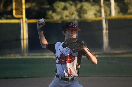 San Clemente Little League All-Star pitcher Owen Petri shut down San Juan Capistrano Little League over the final three innings in a comeback win for San Clemente in the District 68 tournament in Ladera Ranch. Photo: Zach Cavanagh