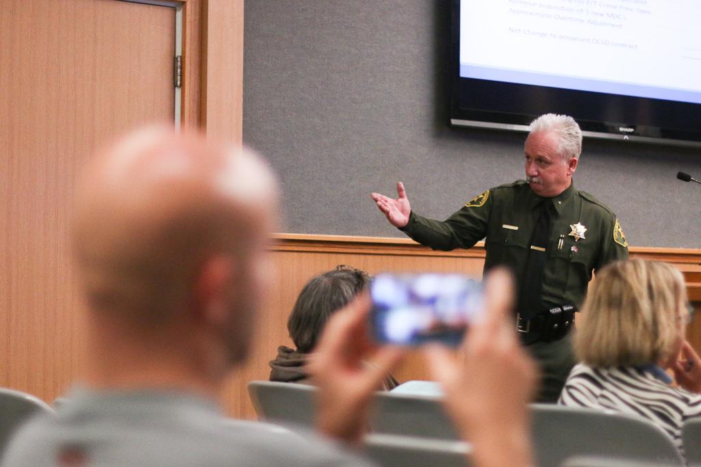 Representatives from the Orange County Sheriff's Department weighed in on the San Clemente City Council's decision to cut overtime and add more deputies to its roster. City Council was poised to keep the number of deputies as is and provide $800,000 in overtime to augment duties, but Council members decided otherwise on June 12 when they passed the 2018-2019 budget. Photo: Eric Heinz