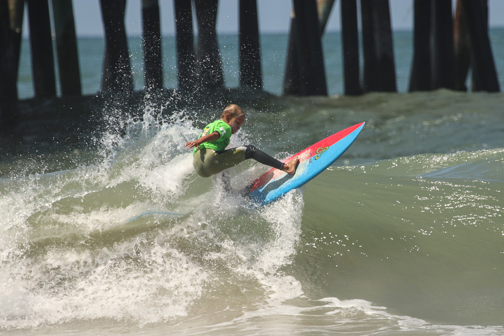 The Groms Rule surf competition took to the rising surf on Sunday, July 22, at the San Clemente Ocean Festival. Photo: Eric Heinz
