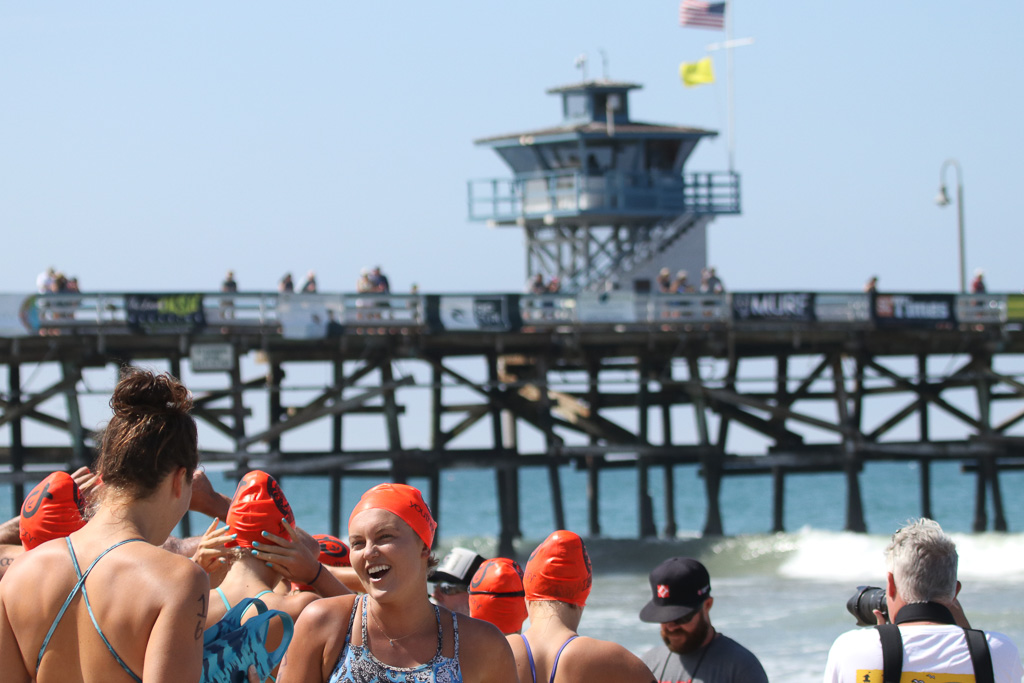 Competitors keep it friendly prior to battling against one another at the San Clemente Ocean Festival on July 21. Photo: Eric Heinz