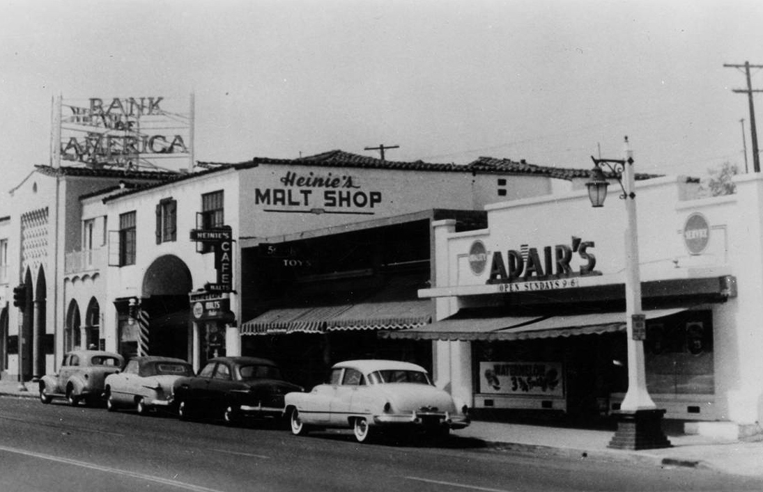 Adair's Market and Heinie's Malt Shop is photographed here around 1950 along what was then Highway 101 at Avenida del Mar. Photo: Courtesy of Thomas Pulley via OC Public Libraries/Calisphere