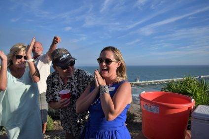 Kelley Finney reacts to being selected as the 2018 Dorothy Fuller Award, which is given to someone who shows exemplary commitment to Ocean Festival and volunteer work. Photo: Eric Heinz