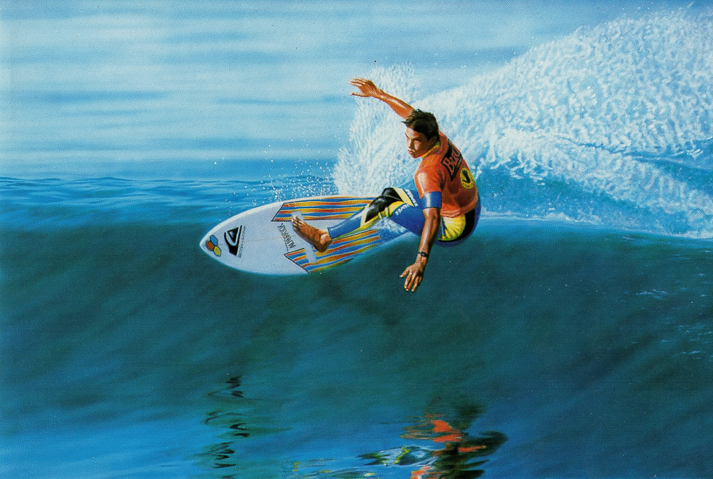 San Clemente surf artist Gary Prettyman's acrylic painting 'Cutting Glass' adorns the cover of the 2018 Laguna Beach Pageant of the Masters program on sale on the Festival of Arts grounds. Photo: Pageant of the Masters