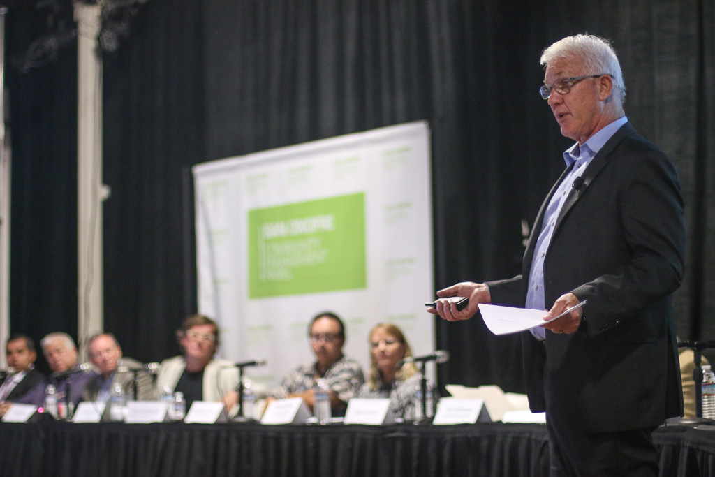 Gary Lanthrum, a former liaison to Yucca Mountain, spoke about the ways to transfer spent nuclear fuel as well as the nuclear energy industry's safety track record during the CEP meeting on Aug. 9 in Oceanside. Photo: Eric Heinz