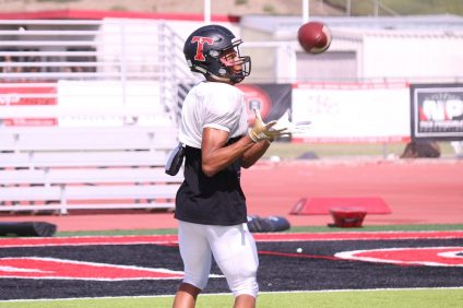 San Clemente senior Jaydel Jenkins has exploded into the role of No. 1 receiver. He leads the Tritons in receptions and receiving yards. Photo: Zach Cavanagh