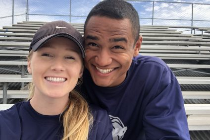 Anna Gillis (left) and Eric McArthur Jr. (right) met, began dating and earned scholarships to the University of Wyoming while competing at the hammer throw at Saddleback College. Photo: Courtesy