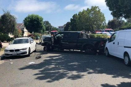 A black 2016 Dodge pickup truck collided with several parked cars after driving through a median at a high rate of speed on Aug. 12 on the 700 block of Camino de los Mares, according to OCSD. More details are being gathered after four people in total were injured in the incident. Photo: Courtesy of Dario Pascual