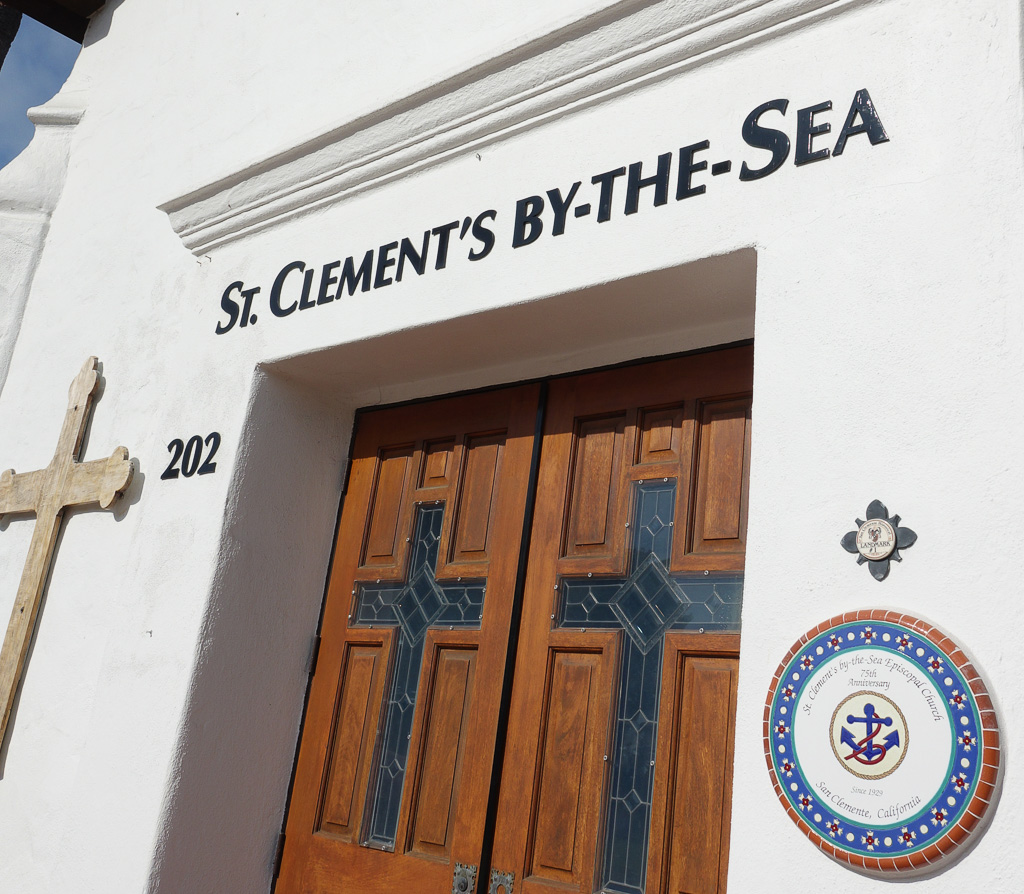 St. Clement's Episcopal Church in San Clemente, California, recognizes the martyr St. Clement with a display outside its door. Photo: Fred Swegles