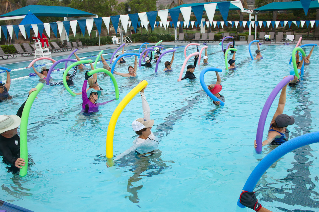 A water fitness class recently taught at the San Clemente Aquatics Center. Photo: Eric Heinz