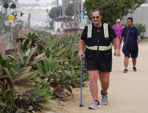 Four-time stroke survivor Mycle Brandy, pictured here in Sept. 2018, could often be seen with his cane on San Clemente's beach trail, training for a planned walk from the West Coast to the East Coast. / Photo by Fred Swegles