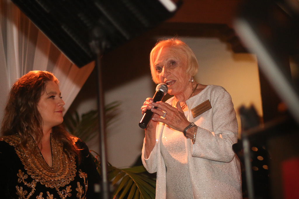 Casa Romantica executive director Berenika Palys, left, and Casa board president Ruth DeNault, speak to the audience at the 16th annual Toast to the Casa on Saturday, Sept. 22. Photo: Eric Heinz