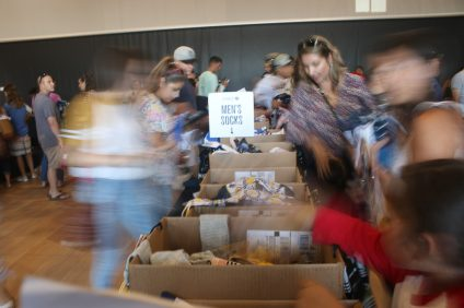 Members of the Military and their families were able to participate in a discounted sock sales as part of a fundraiser on Oct. 19, hosted by the San Clemente Marine Support Group and Stance Socks. Photo: Eric Heinz