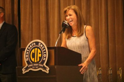 Former San Clemente High School girls basketball coach Mary Mulligan-Crapo was inducted into the CIF-Southern Section Hall of Fame at a luncheon at The Grand Conference Center in Long Beach on Wednesday, Oct. 17. Photo: Zach Cavanagh