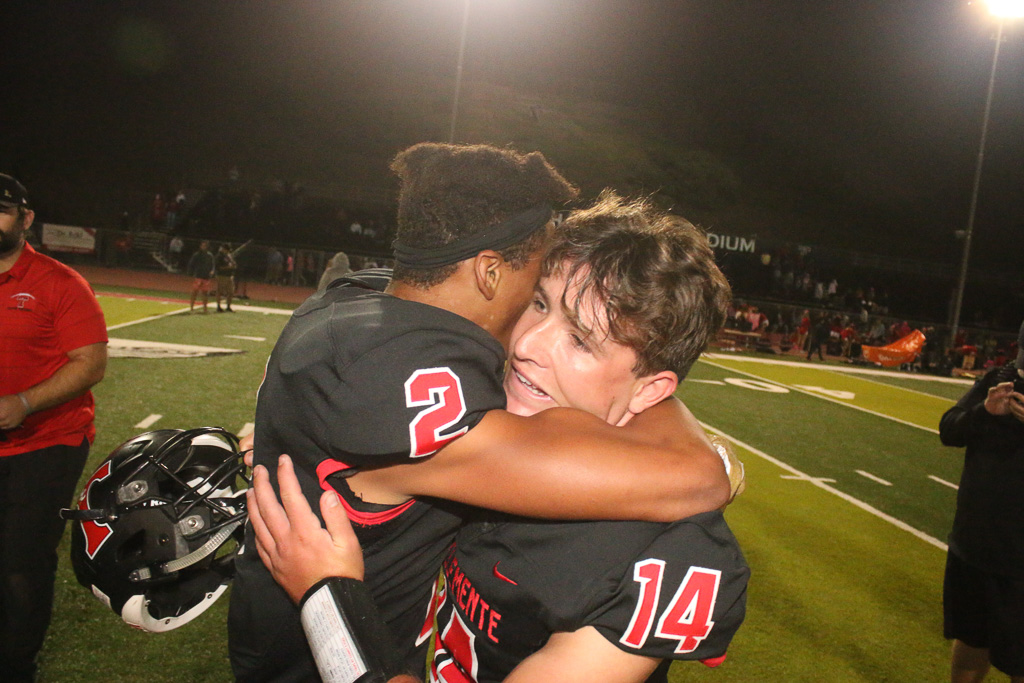 Junior back-up quarterback Drayton Joseph stepped in for an injured Brendan Costello to lead San Clemente football to a win over Mission Viejo for first time since 1999 and wins South Coast League championship, 21-20. Photo: Eric Heinz