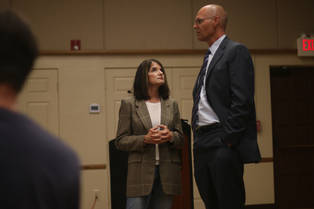 49th Congressional district candidate Diane Harkey, left, (who faces Mike Levin in the election) speaks with San Clemente City Manager James Makshanoff prior to the start of the Toll Road Town Hall on Oct. 24. Photo: Eric Heinz