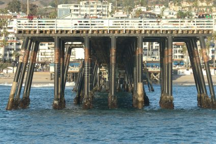 The San Clemente Pier as seen from the ocean on Oct. 11.